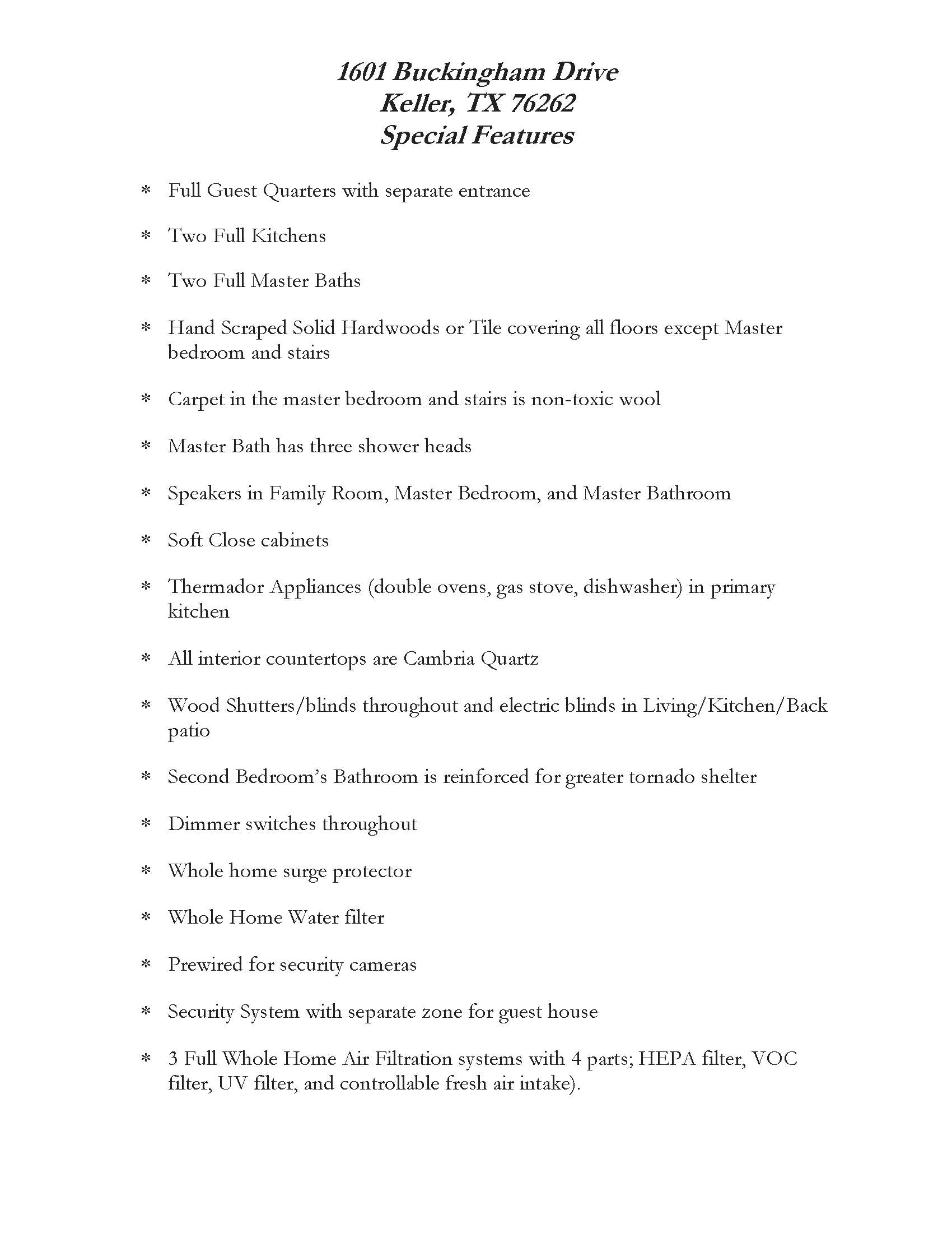 Special Features List - Buckingham Dr. Page 1