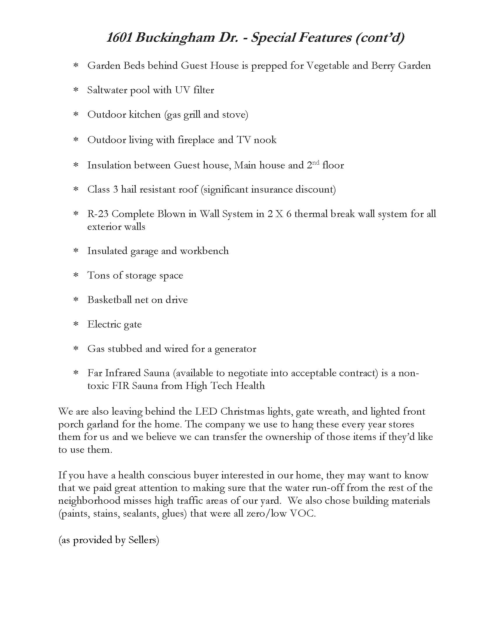 Special Features List - Buckingham Dr. Page 2